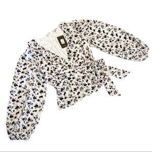 Fashion Nova white floral balloon sleeve blouse